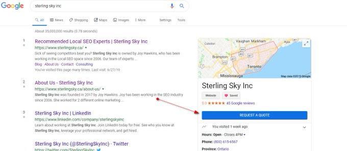 Botão solicitar orçamento no Google Meu Negócio